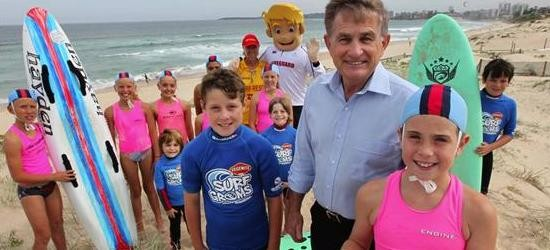 Maya Dixon,8, and friends from wanda nippers at the launch of Surf Hero